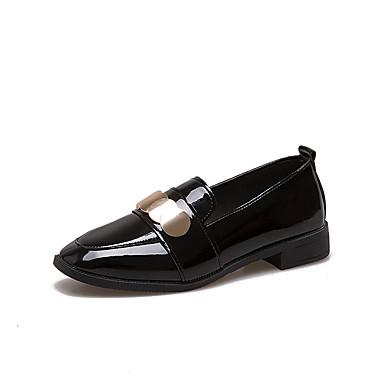 בגדי ריקוד נשים נעליים PU אביב / קיץ נוחות נעליים ללא שרוכים עקב נמוך בוהן מרובעת שחור / ירוק צבא