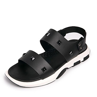 בגדי ריקוד גברים נעליים PU קיץ נוחות סנדלים לבן / שחור