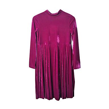 שמלה פוליאסטר ספנדקס אביב קיץ שרוול ארוך יומי חגים אחיד הילדה של פשוט וינטאג' סגול