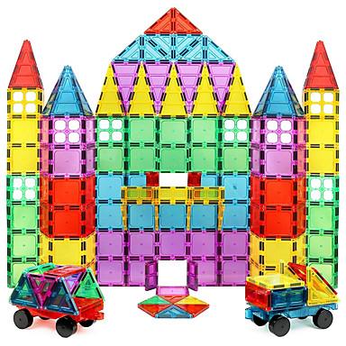 אריחים מגנטיים אבני בניין 60 pcs דגם גיאומטרי גוף שקוף בנים בנות צעצועים מתנות