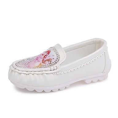 בנות נעליים PU אביב / קיץ נוחות שטוחות ריינסטון ל לבן / בז' / ורוד