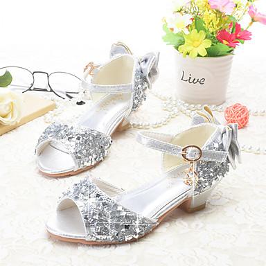 baratos Sapatos de Criança-Para Meninas Glitter Sandálias Little Kids (4-7 anos) / Big Kids (7 anos +) Inovador / Sapatos para Daminhas de Honra Laço / Lantejoulas / Presilha Dourado / Prata / Rosa claro Verão / Peep Toe