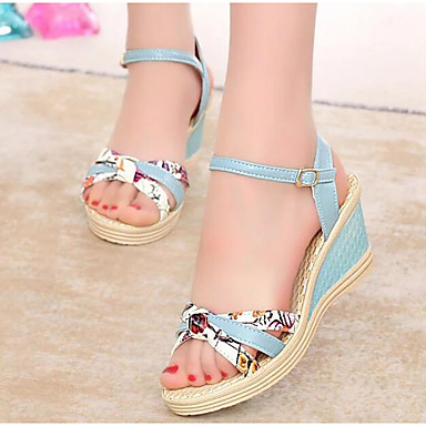 27ae1950e49 Women s Wedge Heels PU(Polyurethane) Spring   Summer Comfort Sandals Wedge  Heel White   Pink   Light Blue