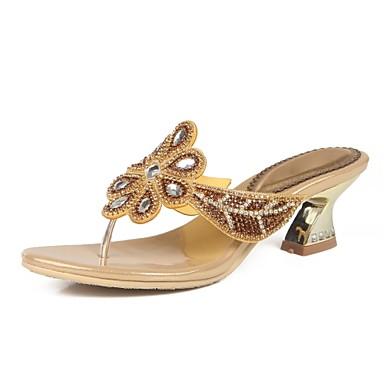 Mujer Zapatos Poliuretano Primavera / Verano Botas de Moda Sandalias Tacón Cuadrado Puntera abierta Pedrería / Cristal / Purpurina Negro bmolIMFYU1