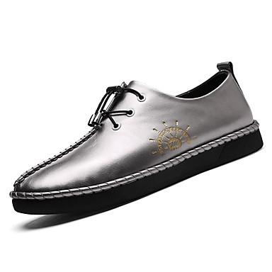 בגדי ריקוד גברים PU אביב / חורף נוחות נעלי אוקספורד שחור / אפור / חום