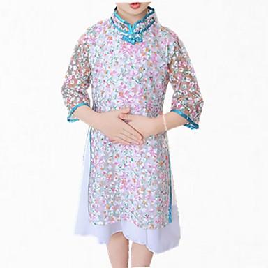 שמלה שרוול ארוך תחרה פרחוני פשוט בנות ילדים / חמוד
