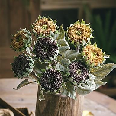 פרחים מלאכותיים 1 ענף כפרי / וינטאג' חמניות פרחים לרצפה