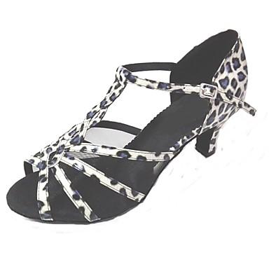 בגדי ריקוד נשים נעליים לטיניות דמוי עור עקבים עקב מותאם מותאם אישית נעלי ריקוד כחול /  לבן / בבית