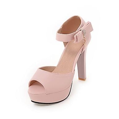 Žene Cipele Prilagođeni materijali / Umjetna koža Ljeto Udobne cipele / Inovativne cipele Sandale Kockasta potpetica Peep Toe Crn / Bež /