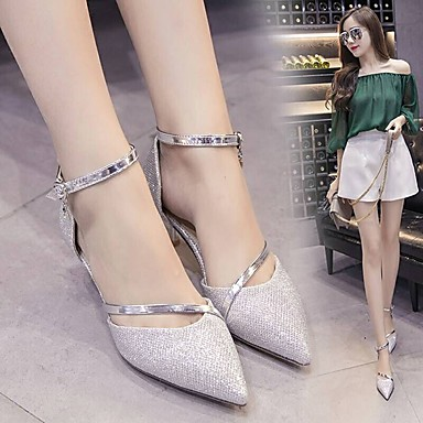 Women's PU(Polyurethane) Spring / Summer Comfort / Light Soles Sandals Low Heel Round Toe Gold / Silver / Party & Evening / Dress