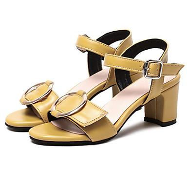 Confort Bottier Printemps Sandales Bout Blanc Eté 06572247 Jaune Polyuréthane Nouveauté Femme Noir Boucle ouvert Chaussures Talon qCfEI