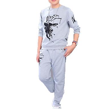 סט של בגדים כותנה פוליאסטר אביב סתיו שרוול ארוך יומי ספורט אחיד דפוס בנות פשוט יום יומי שחור אפור