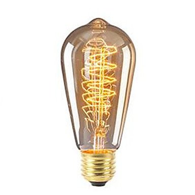 billige Glødelampe-1pc 40 W 360 lm E26 / E27 ST64 Edison Bulb LED perler SMD Mulighet for demping Dekorativ Varm hvit 220-240 V
