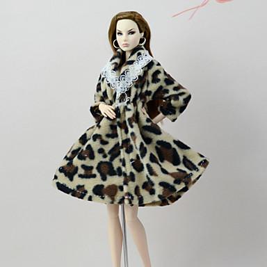 voordelige Poppenaccessoires-Pop Outfit Pop jas Jassen Voor Barbie Luipaard Koffie Flanel Fleece Polyesteri Jas Voor voor meisjes Speelgoedpop