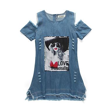 お買い得  女児 ドレス-子供 女の子 シンプル ヴィンテージ ベーシック 日常 お出かけ ソリッド プリント ジャカード ビンテージ クラシック レトロ 半袖 コットン アクリル ポリエステル ドレス ブルー