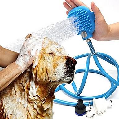 billige Kjæledyrartikler-Hunder Katter Kæledyr Silikon Slangefeste Rinser sprinkler Dusj Plast Bad justerbar Fleksibel Enkel å installere Blå