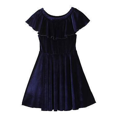 baratos Vestidos para Meninas-Bébé Para Meninas Simples Boho Diário Para Noite Sólido Estilo Moderno Tema de Fadas Fashion Manga Curta Vestido Azul Real / Algodão