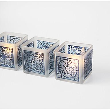 סגנון ארופאי / סגנון מינימליסטי זכוכית פמוטים 1pc, מחזיק נר / נרות