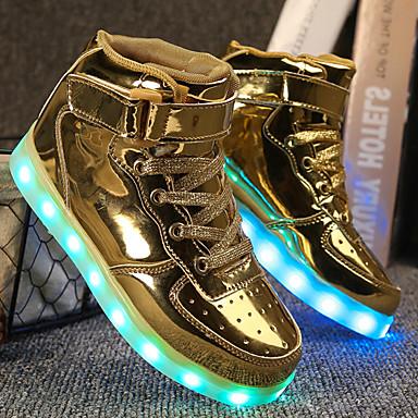 rond Chaussures Confort Marche Automne Printemps Boucle Argent Talon 06601231 Lumineuses Bout Or Femme Similicuir Plat Basket Chaussures 7BwI8Hdnq