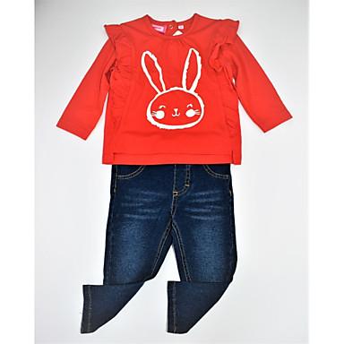 סט של בגדים כותנה אביב סתיו שרוול ארוך יומי הדפס חיות קולור בלוק בנות יום יומי פעיל אודם