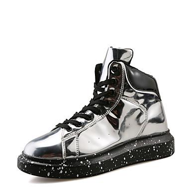 בגדי ריקוד נשים עור פטנט אביב / סתיו נוחות נעלי ספורט שטוח בוהן עגולה שחור / כסף / אדום