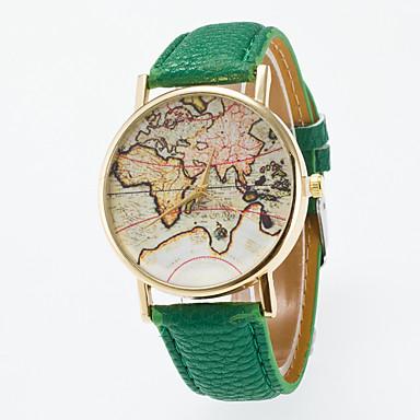 baratos Relógios Homem-Homens Mulheres Relógio de Moda Mapa mundial Quartzo Couro Preta / Azul / Vermelho Relógio Casual Analógico Vintage Padrão Mapa do Mundo - Azul Claro Khaki Verde Claro
