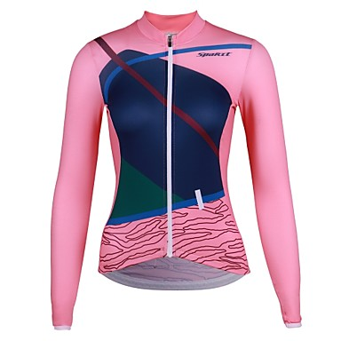 SPAKCT Women s Long Sleeve Cycling Jersey - Pink Animal Bike Jersey Quick  Dry Sports Elastane Polyster 35f7cf3b4