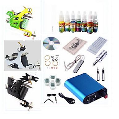 BaseKey Tätowiermaschine Beginner Set - 1 pcs Tattoo-Maschinen mit 7 x 5 ml Tätowierfarben, Einstellbare Spannung, Professionell Mini Stromversorgung 3 x Stahl-Tattoomaschine für Umrißlinien und