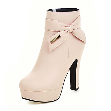 povoljno Ženske čizme-Žene Čizme Kockasta potpetica / Platformske cipele Okrugli Toe Mašnica / Šljokice / Patent-zatvarač PU Čizme gležnjače / do gležnja Modne čizme / Čizmice Jesen / Zima Crn / Bež / Pink