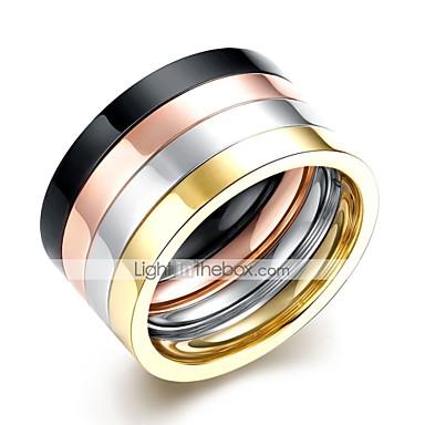 voordelige Herensieraden-Heren Ring Set 4pcs Regenboog Roestvast staal Cirkelvorm Rock Dagelijks Werk Sieraden Cool