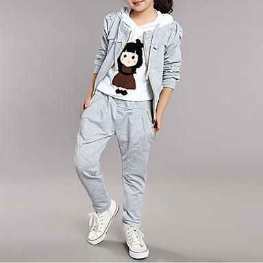 c452723af22ca Kids Girls' Cartoon Daily Patchwork Long Sleeve Regular Regular Cotton  Clothing Set Gray