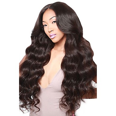 cheap Human Hair Wigs-Virgin Human Hair 360 Frontal Wig Middle Part Deep Parting style Brazilian Hair Wavy Body Wave Black Wig 180% Density with Baby Hair Natural Hairline Bleached Knots Black Women's Short Medium Length