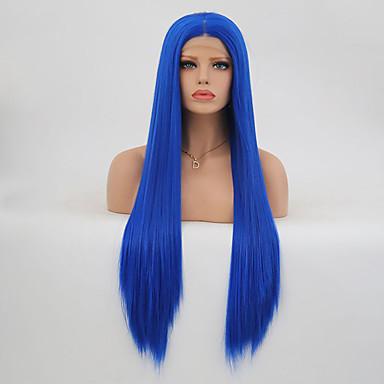 povoljno Perike i ekstenzije-Prednja perika od sintetičkog čipke Ravan kroj Stil Stepenasta frizura Lace Front Perika Navy Plava Sintentička kosa Žene Otporan na toplinu Plava Perika Dug / Da