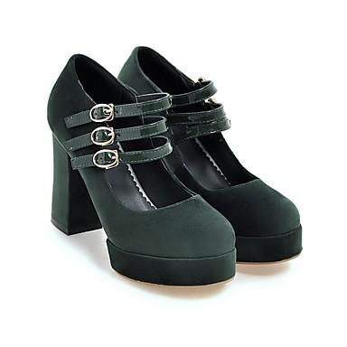 Cuir Bout Rouge à Boucle 06642084 Chaussures Chaussures Nubuck Talon Femme Vert Talons Confort Bottier Automne Printemps Noir rond p4x5SwP