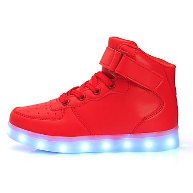 Dame Sko Lær Vår Høst Komfort Lysende sko Flat hæl Snøring Magisk teip til Atletisk Avslappet Hvit Svart Rød Blå