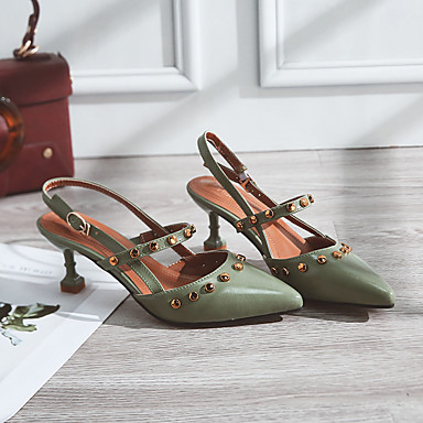 Tacón Negro Primavera Tacones Zapatos Otoño PU Mujer Blanco 06530437 Verde Ejército Stiletto Confort qzOY4U