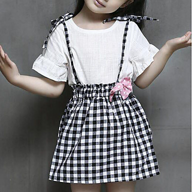 סט של בגדים שרוולים קצרים פפיון משובץ דמקה ליציאה יום יומי / סגנון רחוב בנות פעוטות