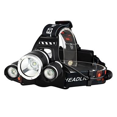 رخيصةأون المصابيح اليدوية وفوانيس الإضاءة للتخييم-Boruit® RJ-3000 مصابيح أمامية مصابيح الدراجة LED LED 3 بواعث 3000/5000 lm 4.0 إضاءة الوضع مع الشاحن قابلة لإعادة الشحن فص الموضع المصطدم Camping / Hiking / Caving السفر
