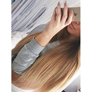 billige Blondeparykker med menneskehår-Ubehandlet Menneskehår U-del Parykk Lagvis frisyre stil Brasiliansk hår Rett Blond Parykk 130% Hair Tetthet med baby hår Ombre-hår Mørke røtter Blond Dame Kort Medium Lengde Lang Blondeparykker med