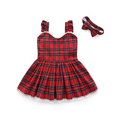 Brzdąc Dla dziewczynek Pled Bez rękawów Sukienka / Bawełna / Urocza