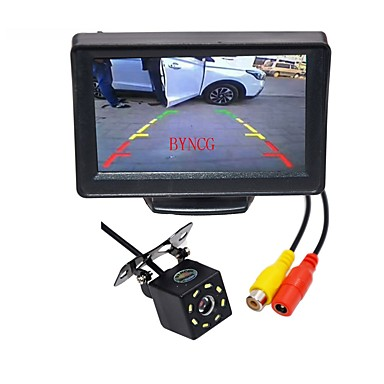 voordelige Automatisch Electronica-BYNCG WG4.3T-8LED 4,3inch TFT-LCD 480TVL 480p 1/4 tuuman CMOS PC7030 Bekabeld 120 graden 1pcs 120° 0.3inch Car Rear View Kit LED-indicator