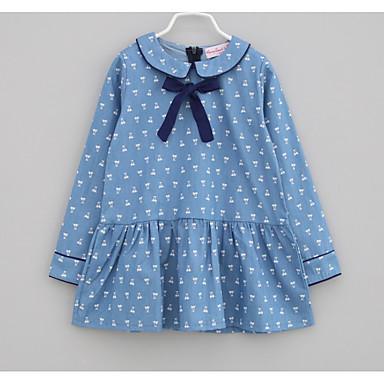 baratos Vestidos para Meninas-Bébé Para Meninas Diário Feriado Galáxia Laço Estampado Manga Longa Vestido Azul / Algodão / Fofo