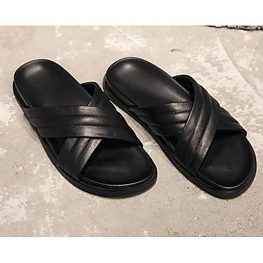 Męskie Komfortowe buty Skóra bydlęca Lato Klapki i japonki Czarny