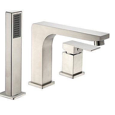 Bathtub Faucet - Contemporary / Antique Nickel Brushed Roman Tub Ceramic Valve Bath Shower Mixer Taps / Two Handles Three Holes
