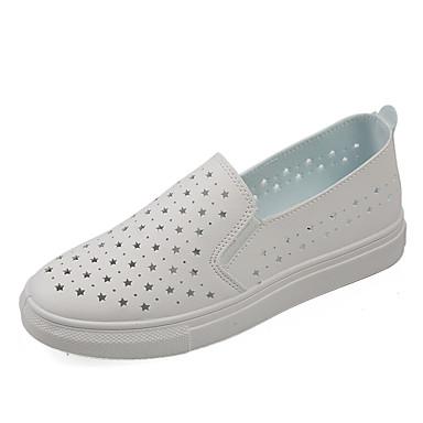 Mulheres Sapatos Tule Primavera Verão Rasos Caminhada Sem Salto Ponta Redonda Vazados para Branco Preto