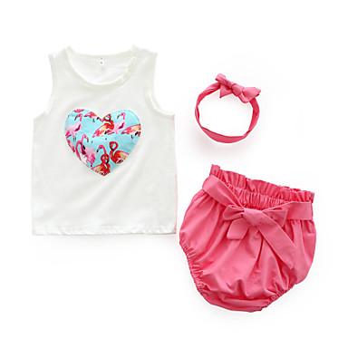 Dziecko Dla dziewczynek Codzienny Kwiaty Bez rękawów Bawełna Komplet odzieży Rumiany róż 90 / Śłodkie