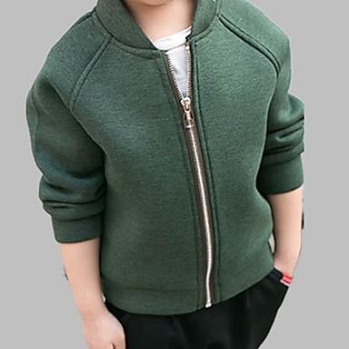 Brzdąc Dla chłopców Aktywny Codzienny Solidne kolory Długi rękaw Regularny Bawełna Kurtka / płaszcz Zielony 120