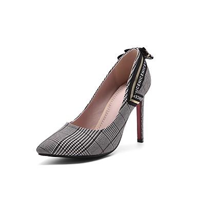 Mujer Zapatos PU Verano Confort Tacones Tacón Cuadrado Dedo redondo Hebilla Negro / Gris / Almendra 7ey61COPT5