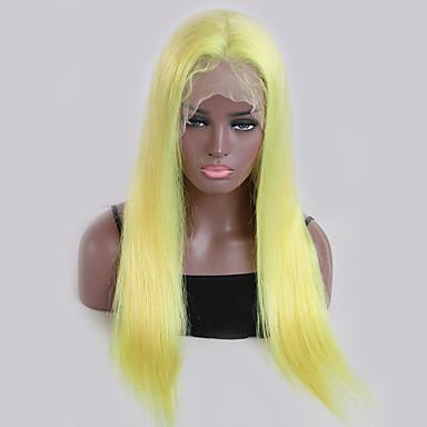 billige Blondeparykker med menneskehår-Remy Menneskehår Blonde Forside Parykk Kardashian stil Brasiliansk hår Rett Blond Parykk 130% Hair Tetthet med baby hår Naturlig hårlinje Blond Dame Kort Lang Blondeparykker med menneskehår Guanyuwigs