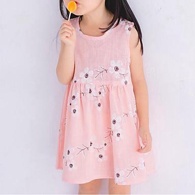 Vestido Chica de Playa Floral Algodón Lino Sin Mangas Verano Floral Lazo Rosa Azul claro